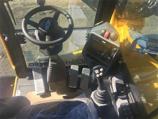 Cab of a JCB wheeled excavator