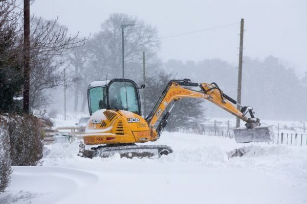 Digger in the snow
