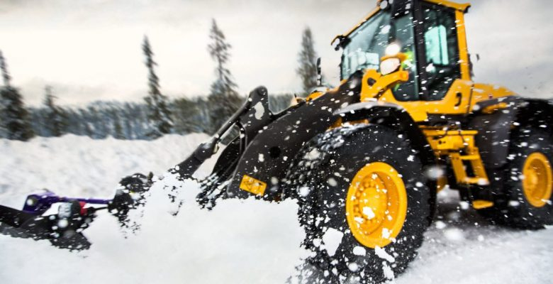 Construction machinery in the snow