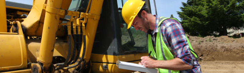 Inspecting used construction machinery