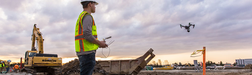 Drones and construction machinery